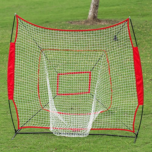 Popsport 7 x 7 Baseball Net Portable Softball Hitting Pitching Net Baseball Practice Nets Batting Throwing Practice Tool with Carry Bag for Outdoor Activities (7 x 7 Baseball Net)