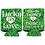 Custom Wedding Can Cooler- Lucky In Love Wedding Can Cooler - St. Patrick's Day themed (250)