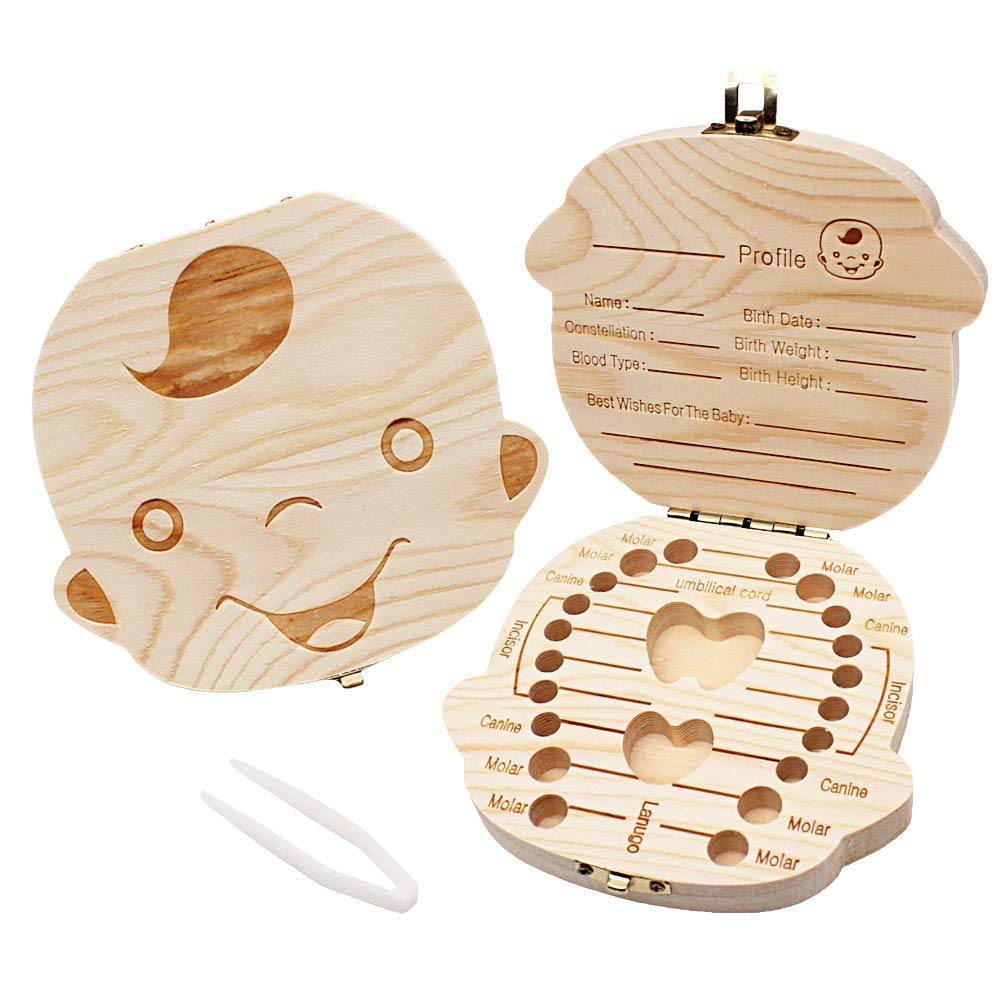 Baby Teeth Box Save Organizer, YOCZOX Wooden Tooth Keepsake Box for Baby, Deciduous Tooth Collection Storage Souvenir Box for Kids Milk Teeth /Umbilical Cord/ Lanugos Memory Storage Boxes Organizer for Boys