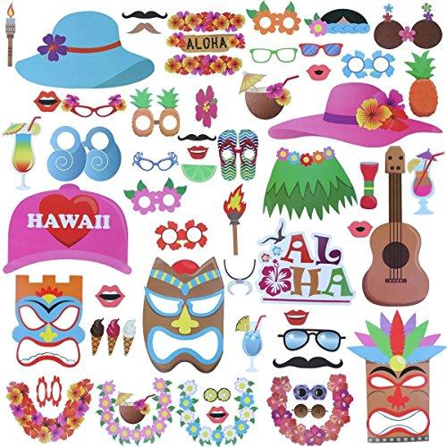 60pcs Luau Hawaii Photo Booth Props, Hawaiian/Beach Pool Parties/Holiday/Tropical/Tiki/Summer Pool Party/Graduation Party Supplies