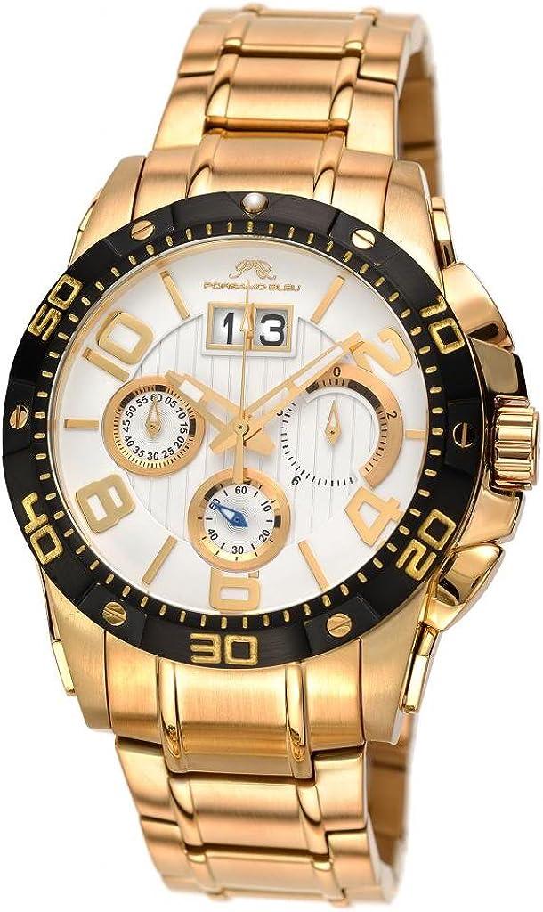 Porsamo Bleu Luxury Francoise Stainless Steel Gold Tone, Black White Men s Watch 243BFRS