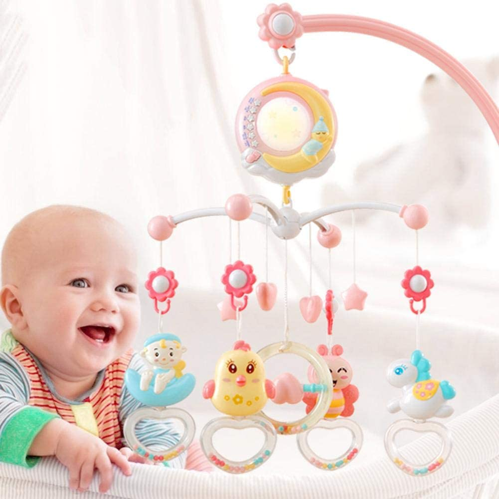 Baby Mobile Musical Baby Crib Mobile Toy With Lights And Music Star Projector Hanging Rotating Bell Timing Projection Crib Toy For Boys Girls Pink