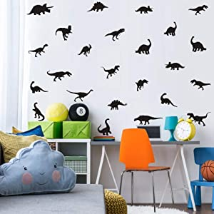 Black Dinosaur Wall Decal, Minimalist Animals Vinyl Dinosaur Wall Art Sticker for Baby Boy Wall Decoration (37pcs)