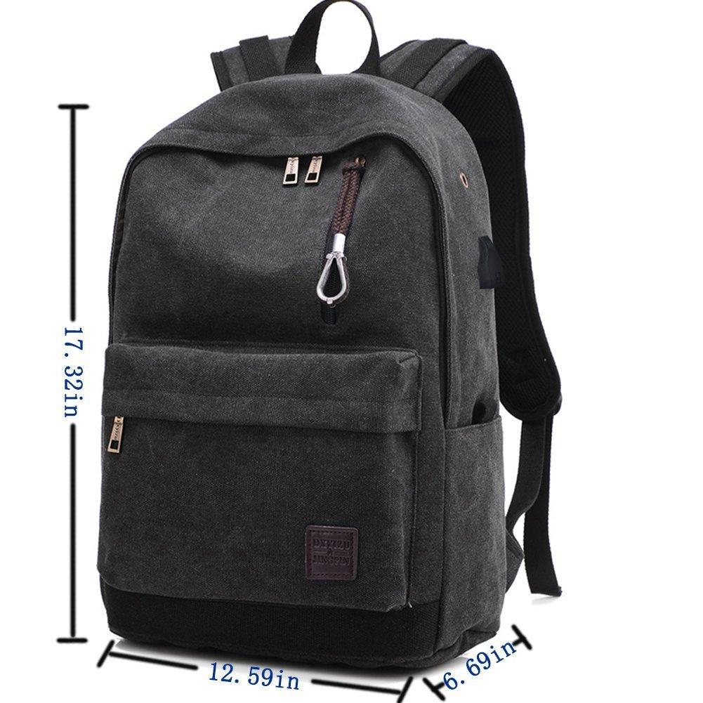 Mochila escolar de lona, SKYIOL mochilas universitarias de 15,6 pulgadas con puerto de carga USB, mochilas escolares / bolsa ligera de viaje para hombre y ...