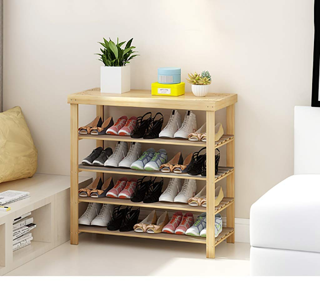 902786cm shoes Bench Organizing Rack shoes Rack Simple Solid Wood Multi-Layer Economic Bamboo Slipper 4 Layer shoes Rack (Size   60  27  86cm)