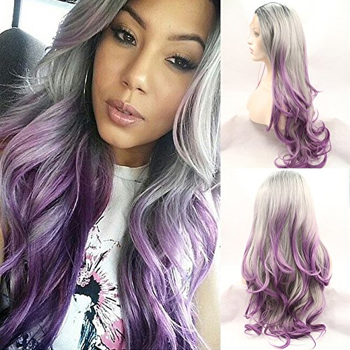 Fennell Long Heat Resistant Synthetic Hair Half Hand Tied Body Wavy Ombre 3 Tone Black Silver Purple Lace Front (Wigs Purple)