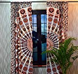 Sophia Art Indian Peacock Mandala Cotton Hippie Tapestry Door Cutain Decor Window Curtains Drape Room Curtain Balcony Boho Set Ethnic Window Treatments & Panels Set (Orange) Review