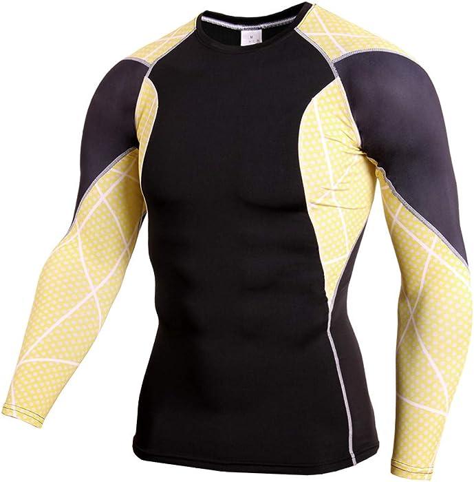 Rooper Camiseta Hombre Deportiva Hombre Manga Larga Fitness Sudadera para Hombre Fitness Deportes Gimnasio Running Yoga Athletic Shirt