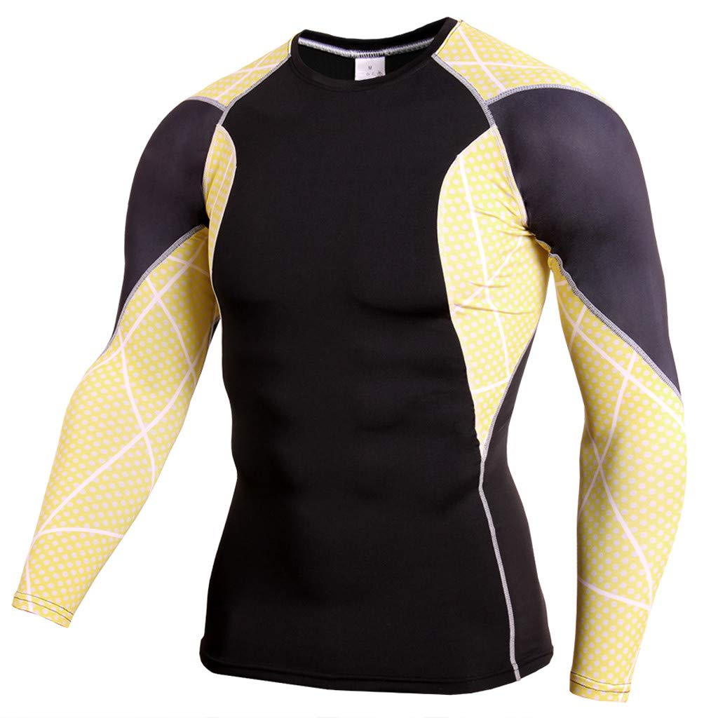 Pervobs Men Workout Fitness Sports Gym Running Yoga Athletic Long Sleeve T-Shirt Top Blouse(US size M = Tag XL, Yellow)