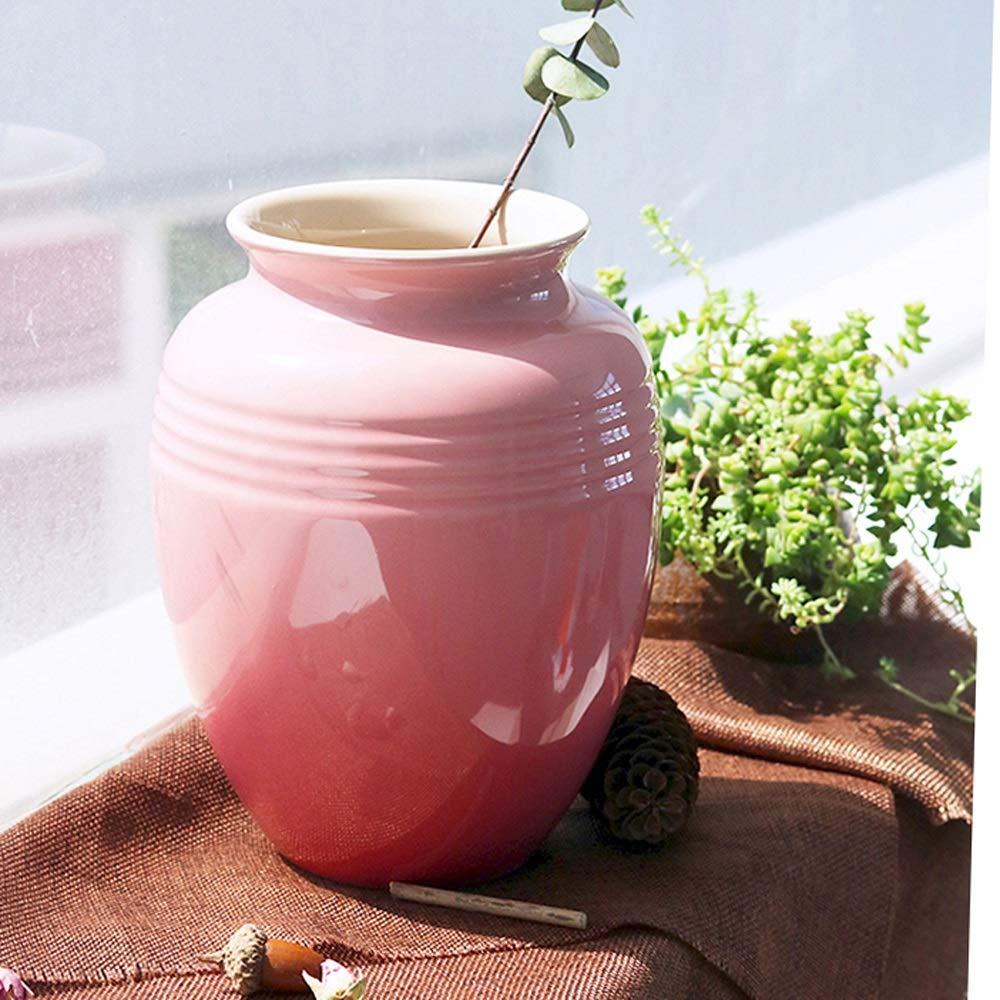 セラミック花瓶用花緑植物結婚式の植木鉢装飾ホームオフィスデスク花瓶花バスケットフロア花瓶 (色 : ピンク) B07RGB2GFX ピンク