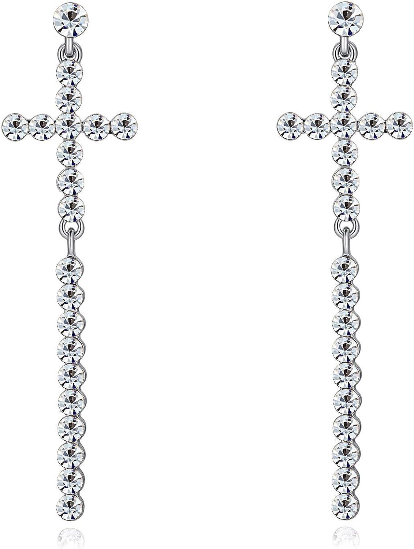 Pendientes Colgantes Cruz Perlas Diamantes de Imitación Mujeres