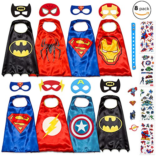 Dropplex 8 Superhero Capes for Kids - Super Hero Toys & Costumes Birthday Party Supplies (Superhero Costumes Age 1-2)