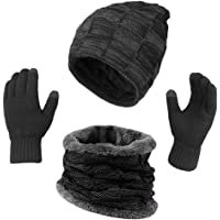 KRATARC Winter Warm Scarf Beanie Hat Glove Neck Gaiter Set Adult Men Women Outdoor