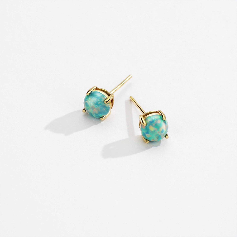 Opal Stud Earrings Sterling Silver Solitaire Style Jewelry For Women Girls 4 Prongs Setting 5mm