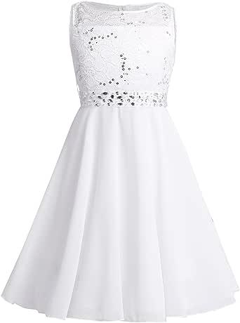 iiniim Girls Sparkling Sequin Lace Chiffon Sleeveless Dress Princess Pageant Wedding Bridesmaid Birthday Party Flower Girl Dress