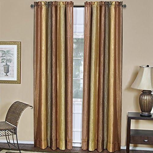 Designer Home Multi-Color Striped Modern Semi-Sheer Window Curtain Drape 2-Pack Panels Beige