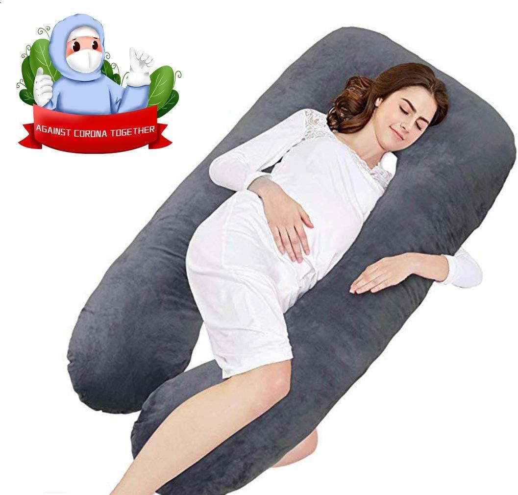 140x/_80/_cm Almohada de Embarazo para Embarazadas con algod/ón y Terapia de Regalo de Embarazo Gris Fablous Dream