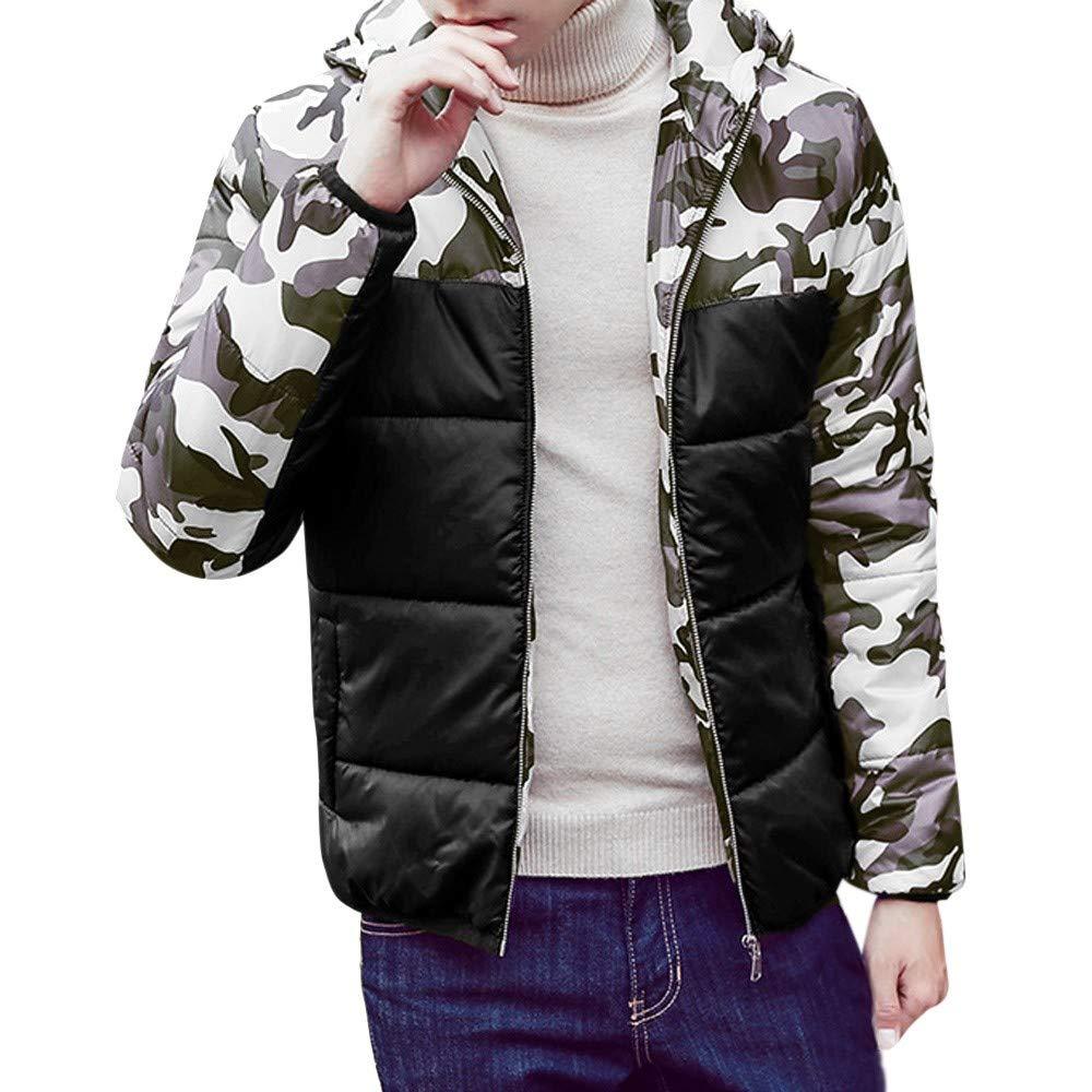 Pius Size Hoodies for Men, BOOMJIU Fall Zip Camouflage Print Cool Jackets Sport Coat