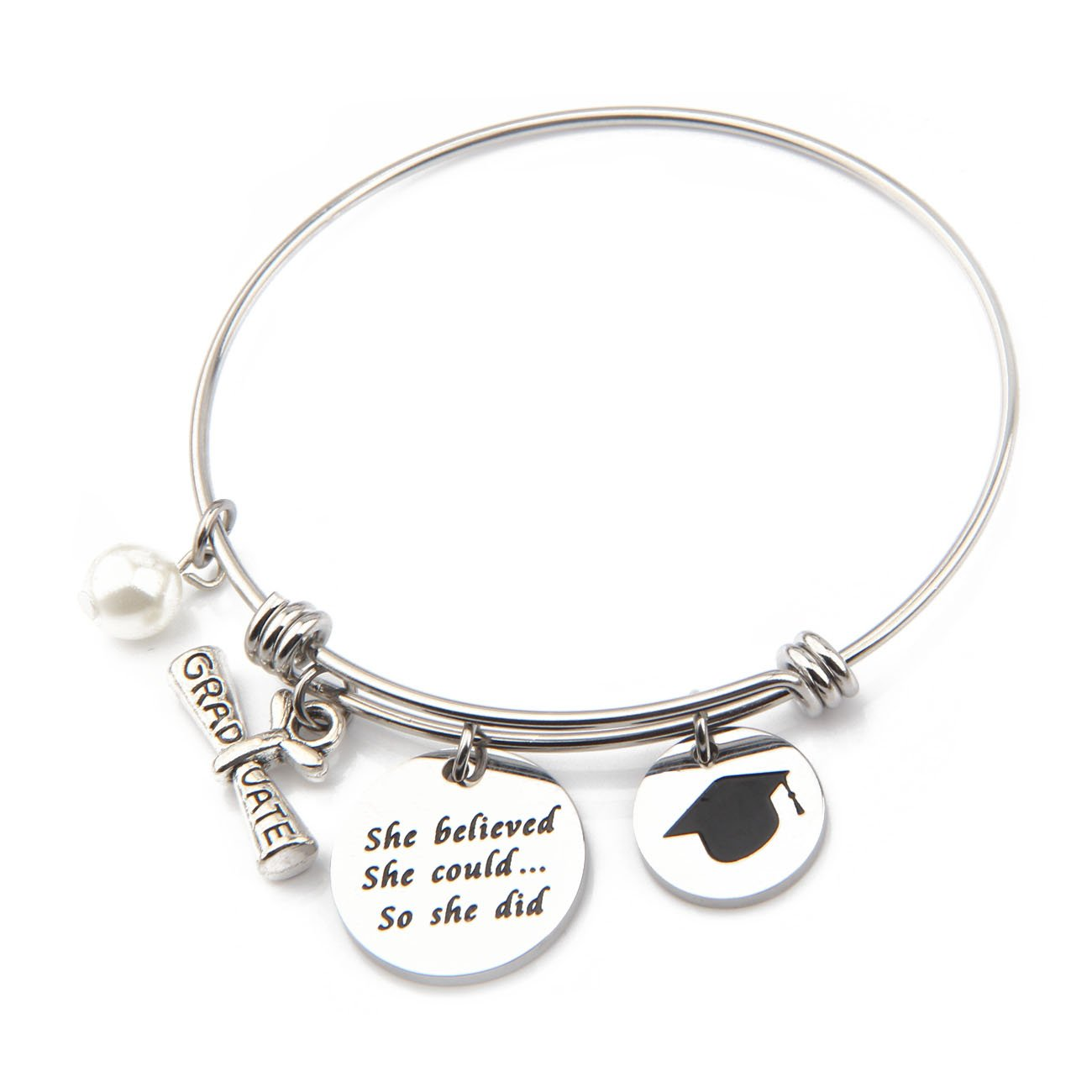 "Ensianth, bracciale con ciondolo, ottimo regalo di laurea, bracciale motivazionale con scritta in lingua inglese ""She believed she could so she did"""