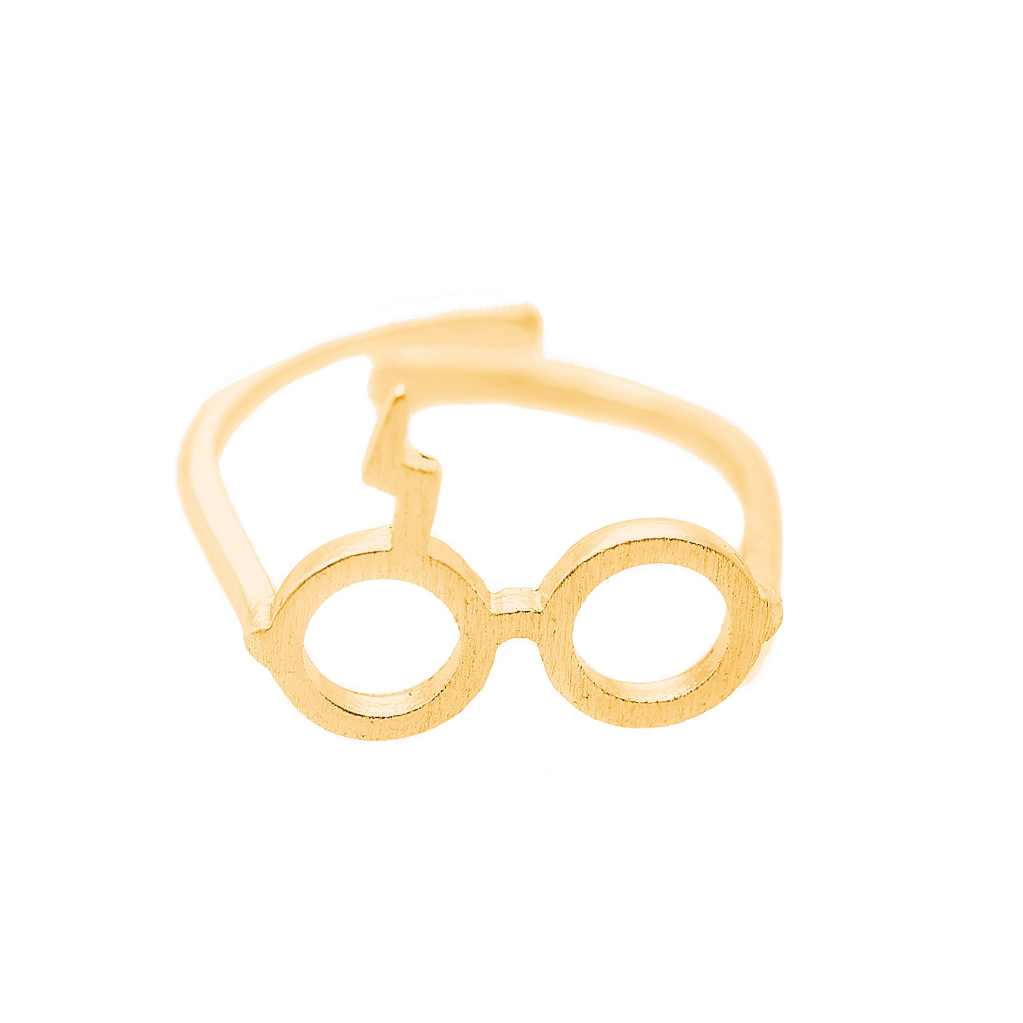 chelseachicNYC Adjustable Lightning Bolt Scar Geek Glasses Ring (Gold)