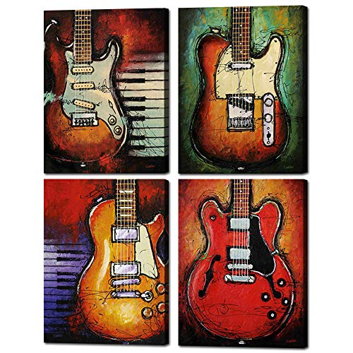 "Abstract Guitar Music Wall Art Canvas Red Purple Prints Paintings Home Decor Decal Life Pictures 4 Panel Large Posters HD Printed for Bedroom Living Room Wooden Framed Ready to Hang(12""x16"", 4 Panels)"