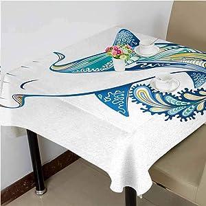 dsdsgog Fabric Tablecloth Hammer Head Shark Ornate Underwater Sea Ocean Life Animals Marine,36x36 inch Decorative Square Tablecloth