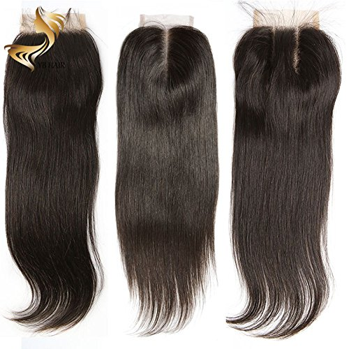 Search : YBHair Lace Frontal Closure -4x4 lace closure Brazilian Virgin Hair 8A Straight Remy 100% Human Hair with Baby Hair For African Americans Natural Color 130% Density Free part 14 inch