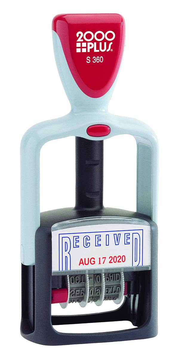 "2000 PLUS Self-Inking, Two-Color Date and RECEIVED Stamp, 1-3/4"" x 1-1/8"" impression, Red and Blue Ink(011034)"