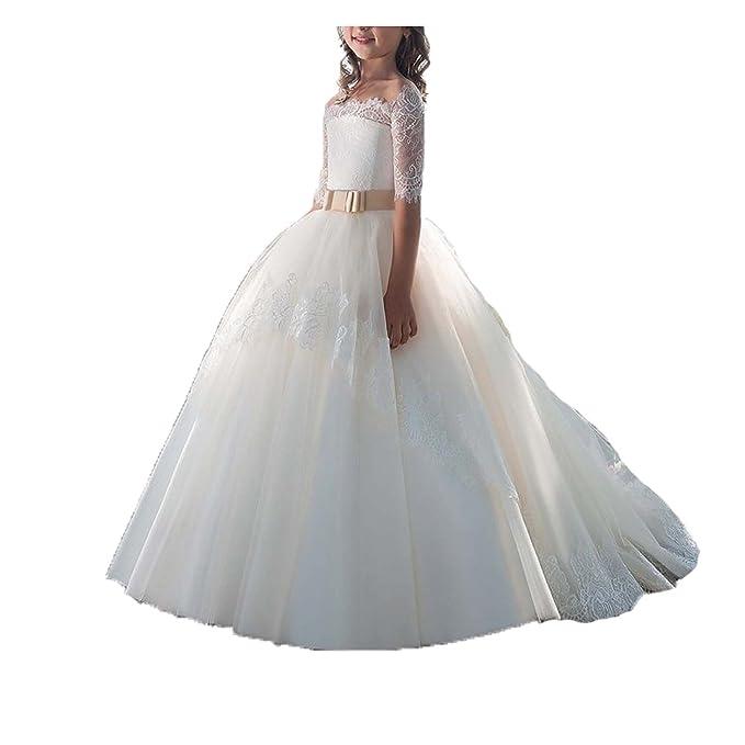 Vestido Comunion Encaje Niña Regalos Primera Trajes Vestido Flores Vestidos Para Fiesta (blanco, 4