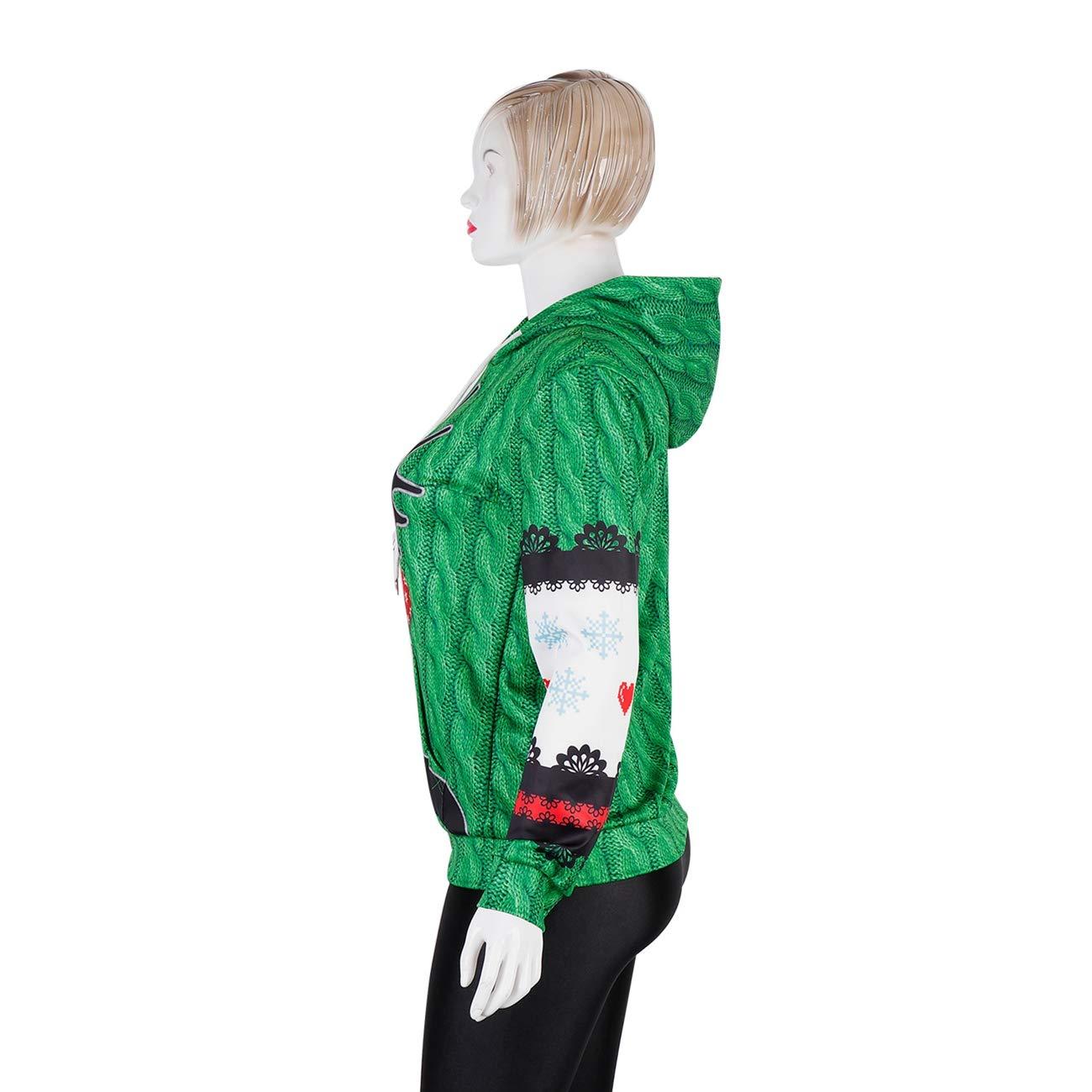 Minishion Womens Mens Unisex Hot Christmas Reindeer Big Pocket Sweatershirt Tee Hooded Pullover Jackets