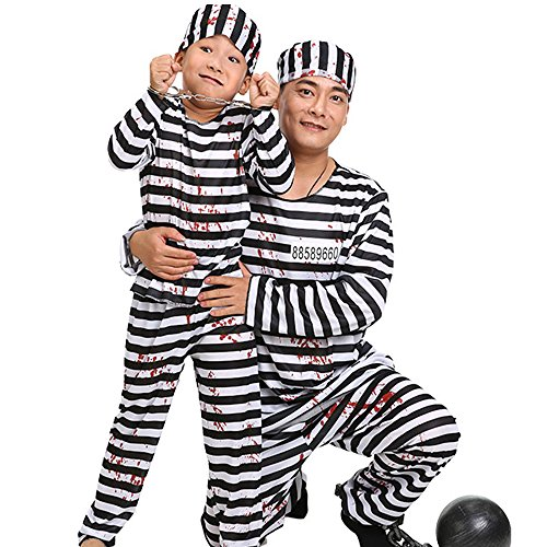 Halloween Jailhouse Prison Prisoner Jailbird Cosplay Costume Dress Up Stripe Suit (Jailhouse Jumpsuit Costumes)