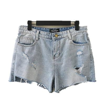 Pantalones Cortos para Mujer Agujero del Tamaño Grande Moda Chicas Especial Estilo Jeans Pantalones Vaqueros De Mezclilla Pantalones Vaqueros De Verano Pantalones Cortos De Verano Den Asimétrico: Ropa y accesorios