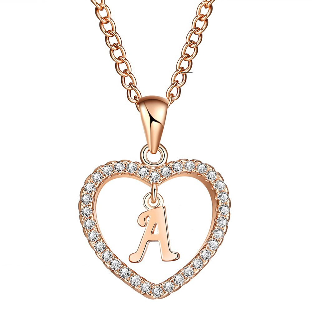 Wintefei Concise Hollowed Heart Alphabet Unisex Necklace Jewelry Neck Chain Pendant Decor - Golden A
