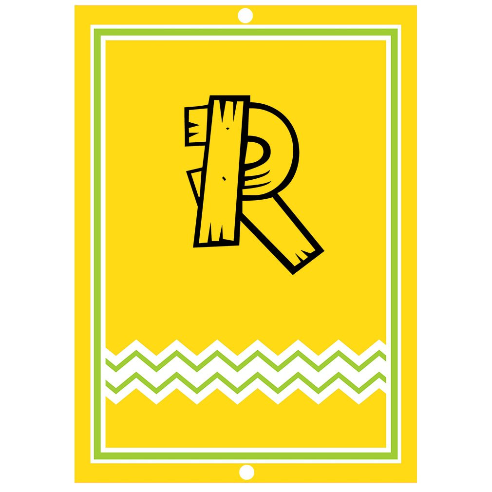 ''R '' Wood Initial Monogram Personalized Letter R Blue Room Nursery Décor METAL Sign Yellow