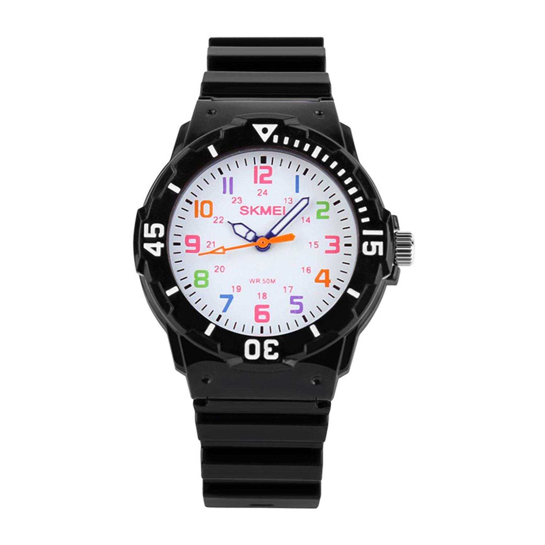 Kids 50M Waterproof Watch,Boys Kids Time Teacher Watches with PU Band Children Analog Quartz Wristwatch (Black)