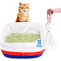 PawPawU Cat Litter Box Liners, Leak Proof and Extra Strong Cat Litter Bags with Drawstring for Easy Cleanup, Pack of 10…