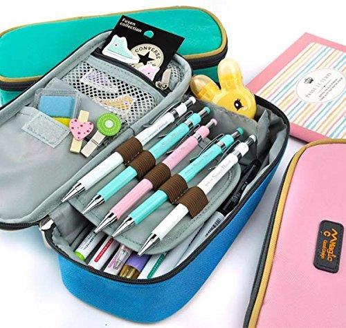 Rashen(TM) Large Storage Pencil Case Pencil Holder Cosmetic Makeup Pouch Zipper Bag Blue