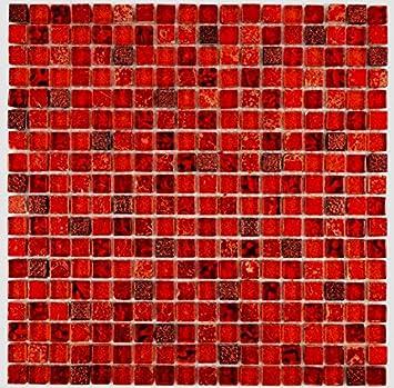 Carrelage mosaïque rouge translucide Verre Mosaïque Crystal Résine ...