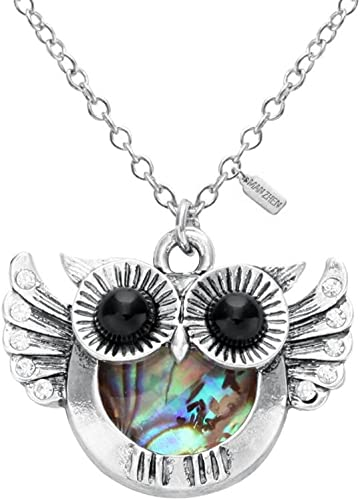 """18/"""" Chain Owl Charm Pendant Necklace Abalone /& Mother of Pearl Shell"""