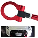 DEWHEL JDM Folding Screw On Racing T2 Tow Hooks Front Rear for Nissan 370Z Juke GT-R Infiniti G37/Q60 Coupe Red