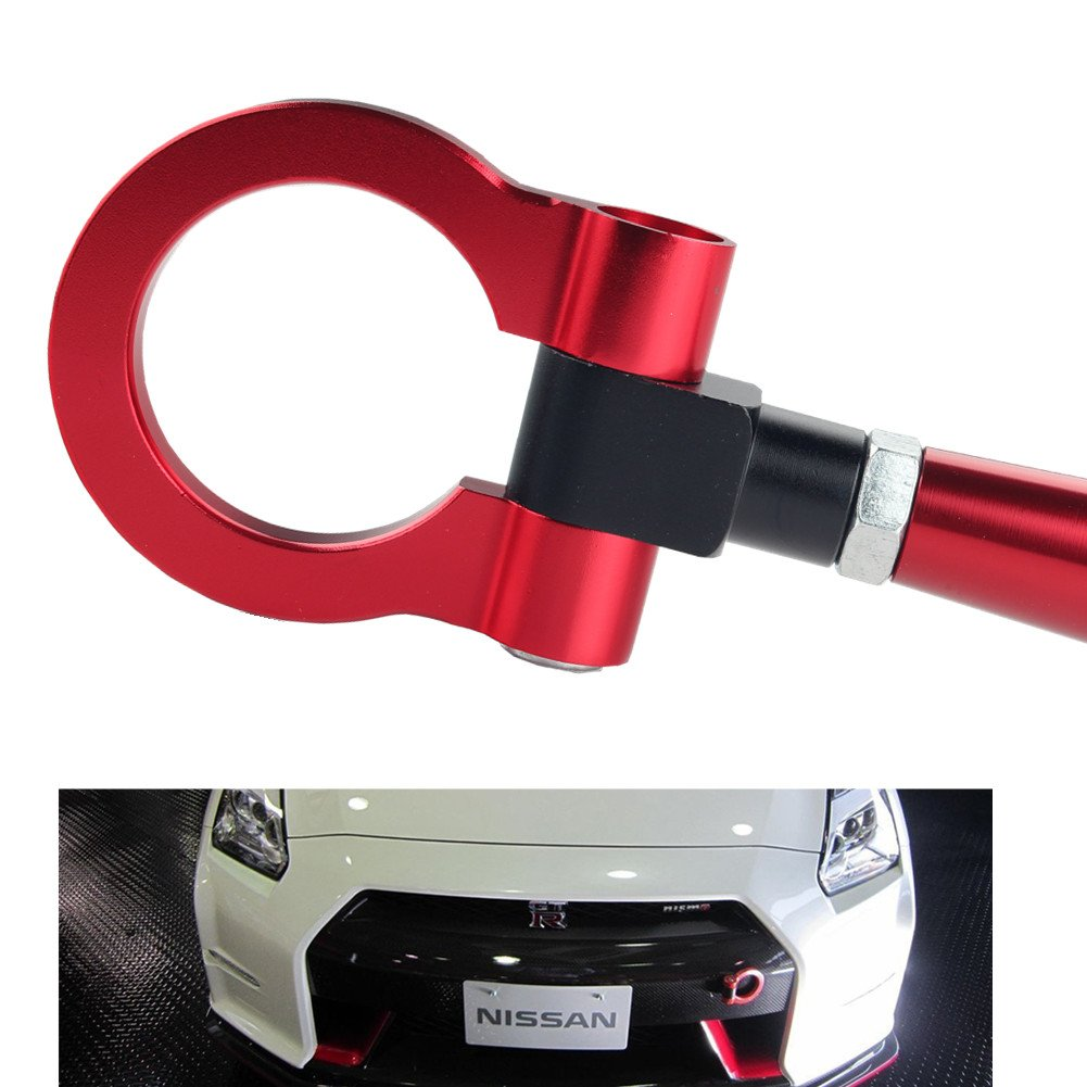 DEWHEL JDM Folding Screw On Racing T2 Tow Hooks Front Rear for Nissan 370Z Juke GT-R Infiniti G37/Q60 Coupe Red by DEWHEL