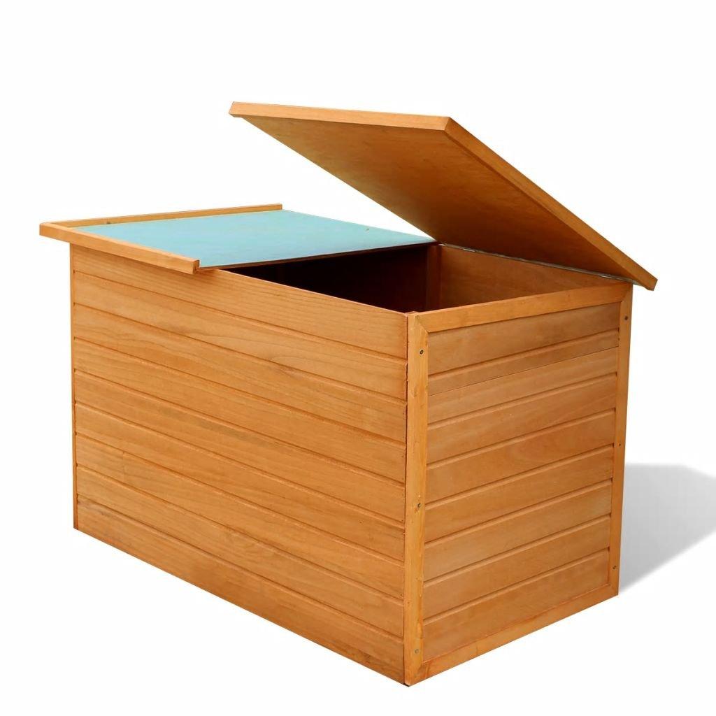 Festnight Garden Storage Chest Box Fir Wood Outdoor Storage Organizer Cabinet Wooden Patio Waterproof Deck Boxes Patio Backyard Furniture Decor 49.6' x 28.3' x 28.3' (L x W x H)