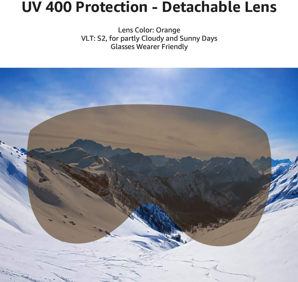 MOON Ski Helmets Snow Helmet with Detachable Ski Goggles Lens Active Ventilation System Warm Fluff Earpads Chin Cushion 100/% UV400