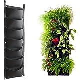Vaso a 7 tasche per piante, da parete, misura grande, 30 x 101 cm, per interni ed esterni, Eco-friendly, in materiale riciclato, di alta qualità, in feltro robusto & resistente, per un'eccellente irrigazione, facile da appendere & riempire Il migliore vaso urbano per piante