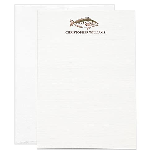 fish note cards mens personalized stationery boys personalized thank you notes mens personalized - Personalized Flat Note Cards
