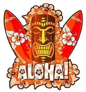 Amazon Com Aloha Tiki Mask With Surfboards Hawaiian Art
