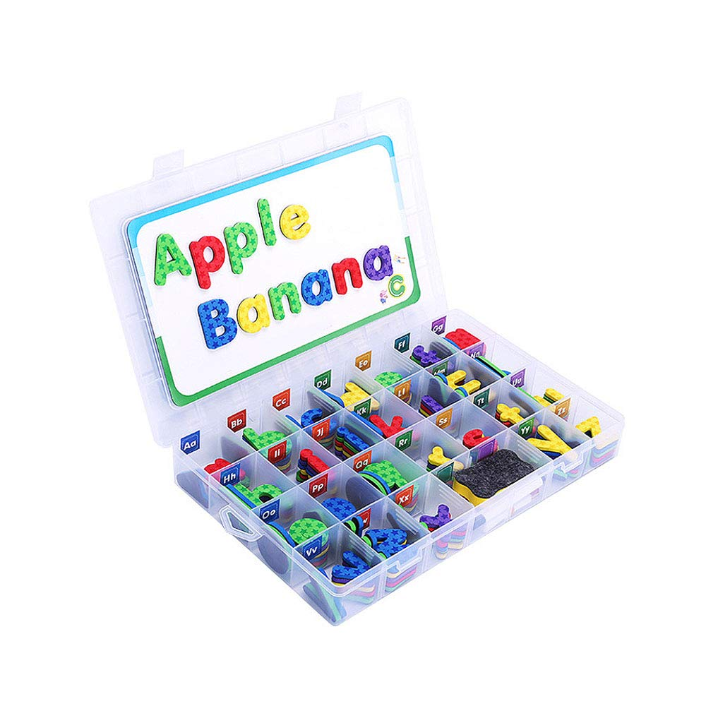 Alapaste Educational Toys Magnetic Letters kit Fun Foam Alphabet ABC Kit with Magnetic Board,Erase and Storage Box for Kids Spelling - 201PCS
