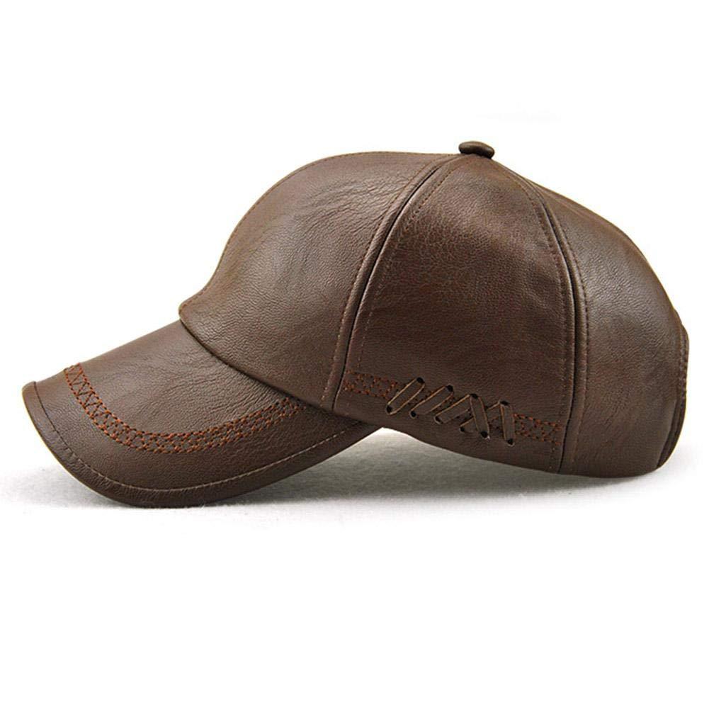 Couleur caf/é//Noir Chapeau dhiver Chaud pour Hommes Capuchon en Cuir PU Style d/écontract/é lahomie Casquette de Baseball en Plein air