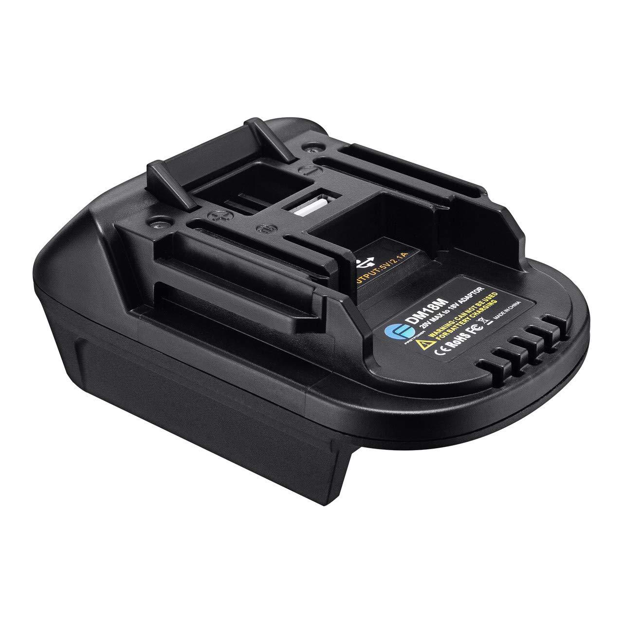 FirstPower DM18M Battery Adapter for 18V Makita Battery, Convert Milwaukee M18 and DeWalt 20V Lithium Battery to Makita 18V Lithium batteries BL1815 BL1850 BL1830 BL1840 with USB port Battery Converte