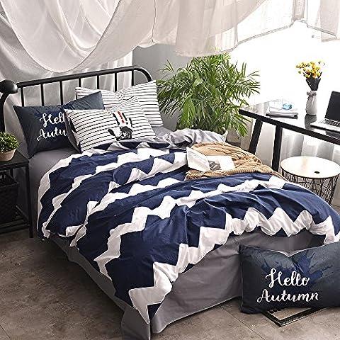 VClife Twin Cotton Duvet Cover Bedding Collection with Zipper Closure, 4 Corner Ties, Envelop Closure End, Wave Bedding Sets Comforter Cover Sets, Jewel Blue White Grey - Blue Reversible Comforter